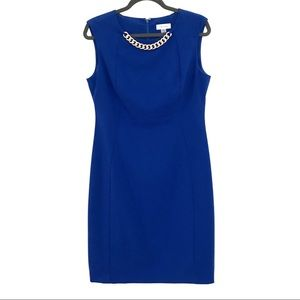 Calvin Klein Blue Sheath Dress, Gold Chain
